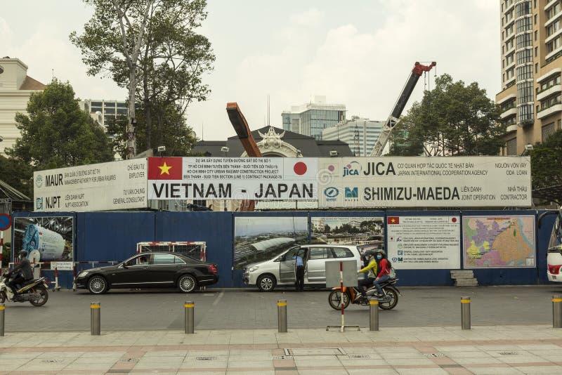 Ho Chi Minh i plats för Vietnam tunnelbanakonstruktion royaltyfria bilder