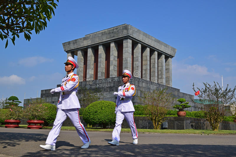 Ho Chi Minh Mausoleum in Hanoi Vietnam with soldiers marching royalty free stock images