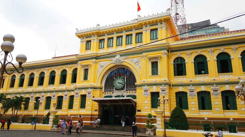 Ho Chi Minh miasta urząd pocztowy lub Saigon poczty Office†Środkowy ‹ obrazy stock