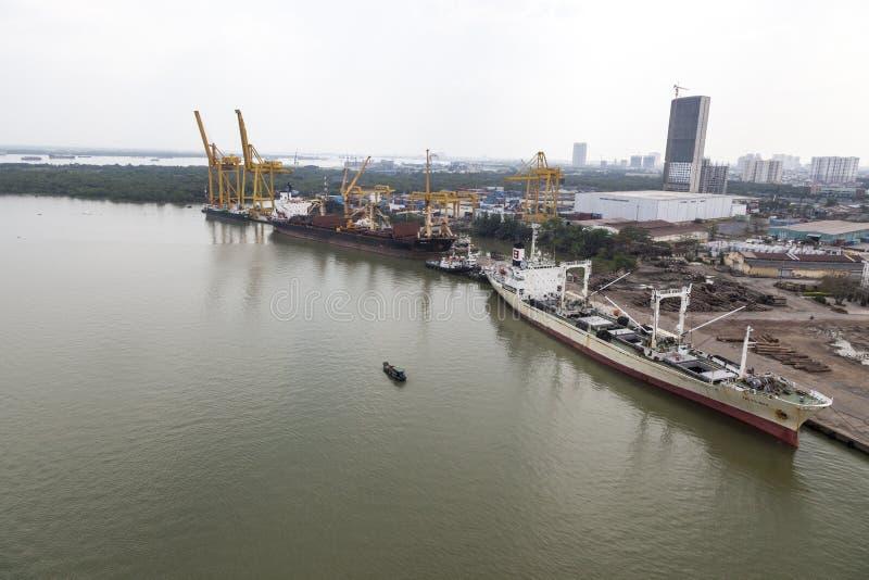 Ho Chi Minh port. Port of the Ho Chi Minh city at the river Saigon royalty free stock photo