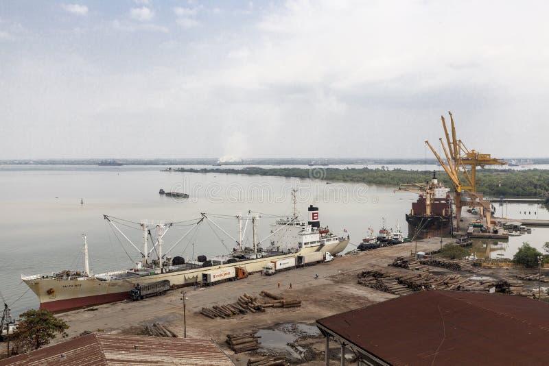 Ho Chi Minh port. Port of the Ho Chi Minh city at the river Saigon stock photos