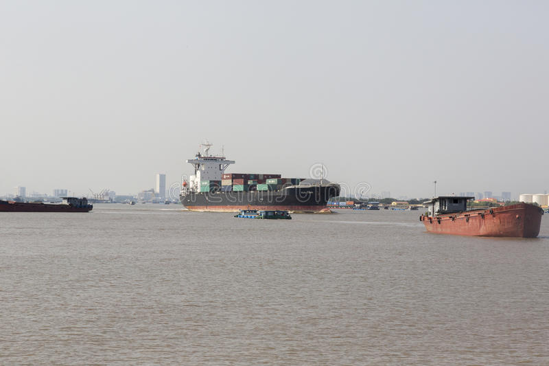 Ho Chi Minh port. Port of the Ho Chi Minh city at the river Saigon royalty free stock images