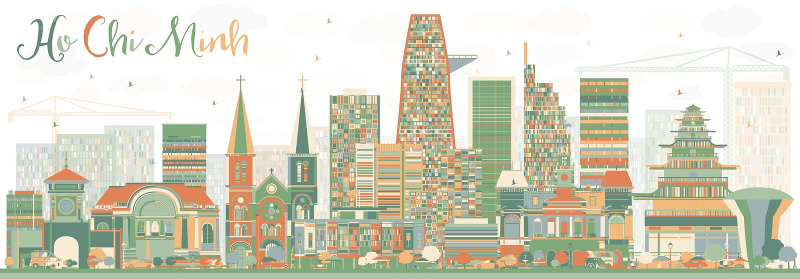 Ho Chi Minh Skyline abstrait avec des bâtiments de couleur illustration libre de droits