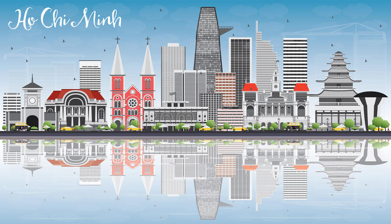 Ho Chi Minh Skyline with Gray Buildings, Blue Sky and Reflection vector illustration