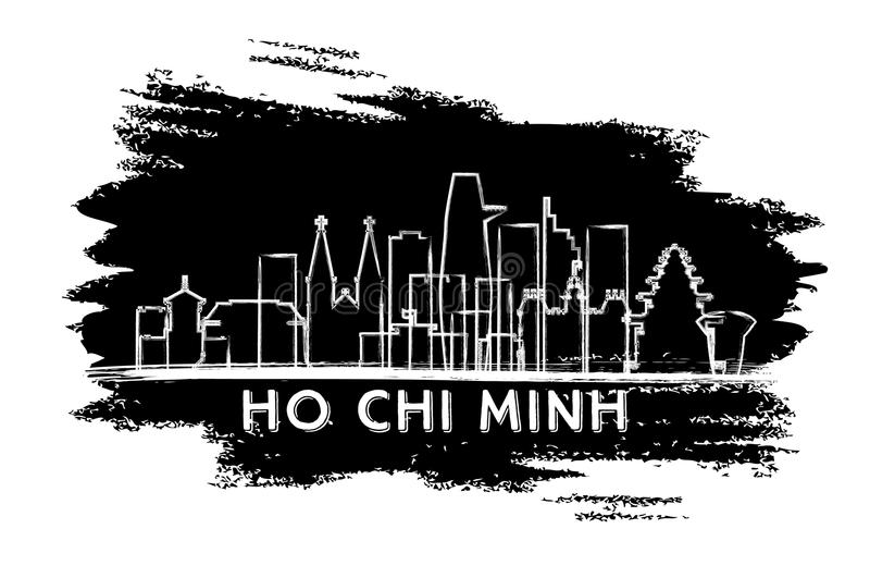 Ho Chi Minh Vietnam City-Horizonsilhouet Hand getrokken schets royalty-vrije illustratie