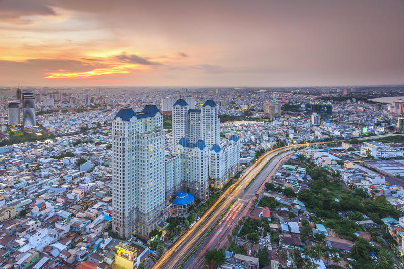 HO CHI MINH, VIETNAM - DECEMBER 17, 2014 : Aerial sunsetview of colorful and vibrant cityscape of downtown in Ho Chi Minh City. Aerial sunsetview of colorful and royalty free stock image