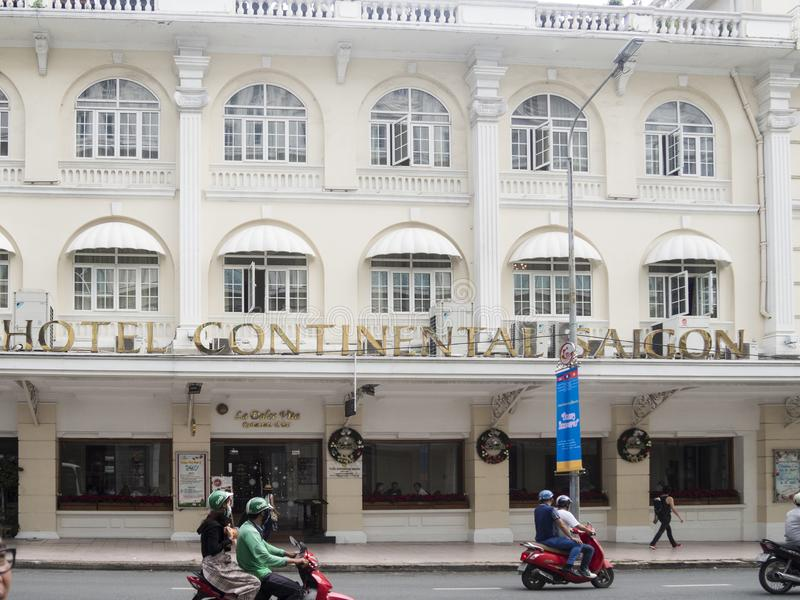 Ho Chi Minh Vietnam - December 16, 2017 hotell kontinentala Saigo royaltyfri bild