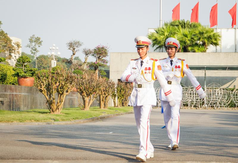 Honor guard at the Ho Chi Minh Mausoleum on the Ba Dinh Square in Hanoi, Vietnam stock image