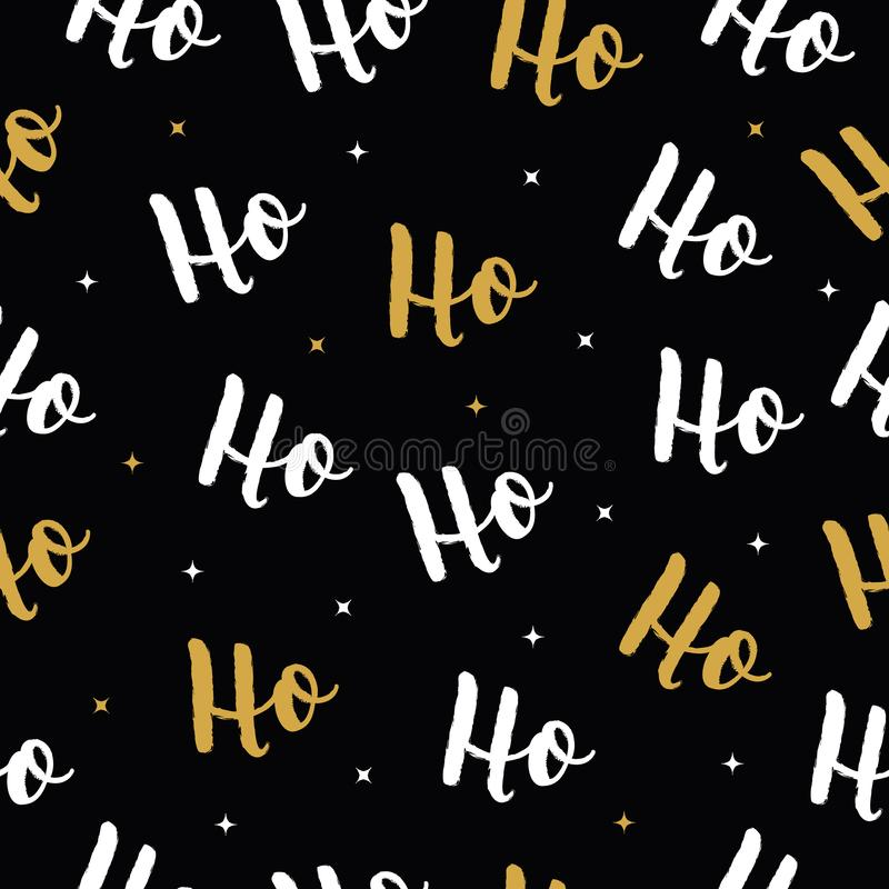 Ho Ho Ho Christmas vector gold greeting card lettering seamles pattern background.  vector illustration