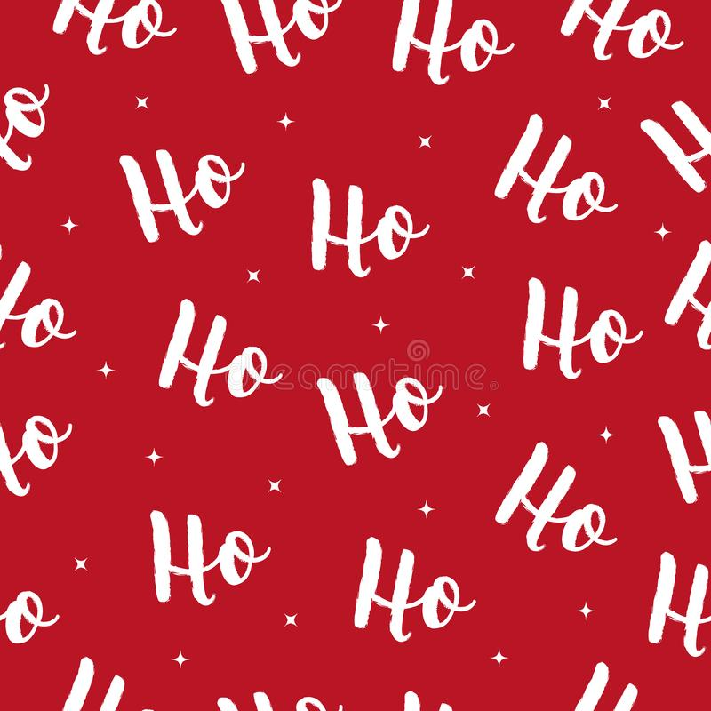 Ho Ho Ho Christmas vector greeting card lettering seamles pattern red background.  royalty free illustration