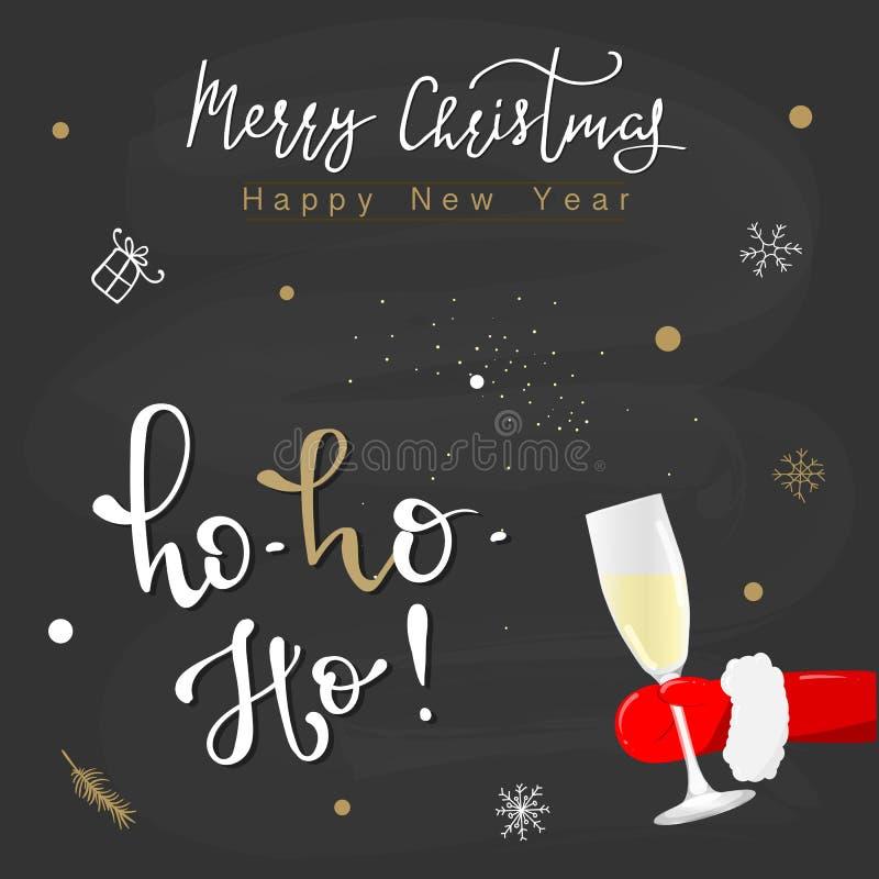 Ho! Ho! Ho! Feliz Natal! Cartão engraçado do Natal, convite Santa Claus tirada mão com Ho ho ho texto ilustração do vetor