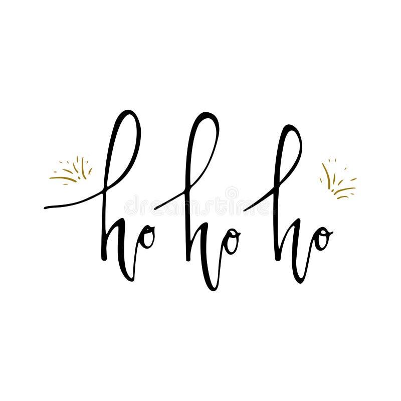 Ho Ho Ho圣诞节传染媒介与现代刷子字法的贺卡 背景能圣诞节使用的例证主题 背景查出的白色 设计要素例证图象向量 向量例证