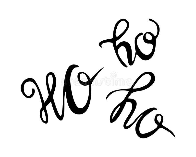 Ho Ho Ho圣诞节传染媒介与现代刷子字法的贺卡 皇族释放例证