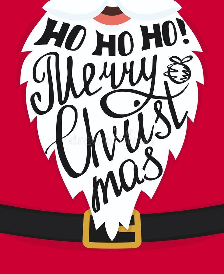 Ho ho ho圣诞快乐贺卡模板 库存例证