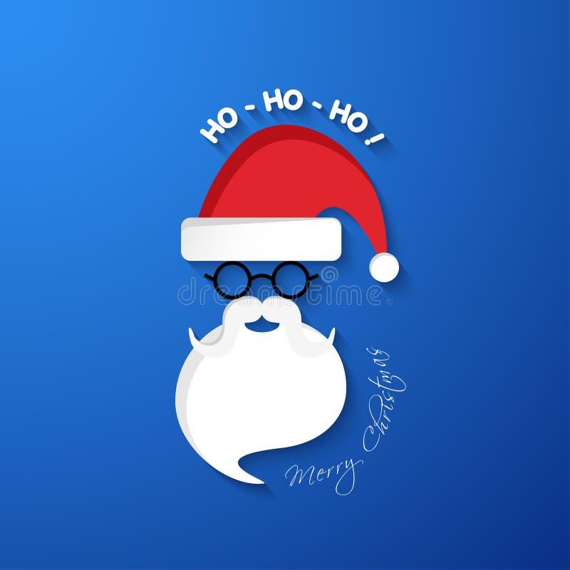HO-HO-HO Wesoło boże narodzenia Święty Mikołaj stawia czoło z kapeluszem i brodą ilustracja wektor