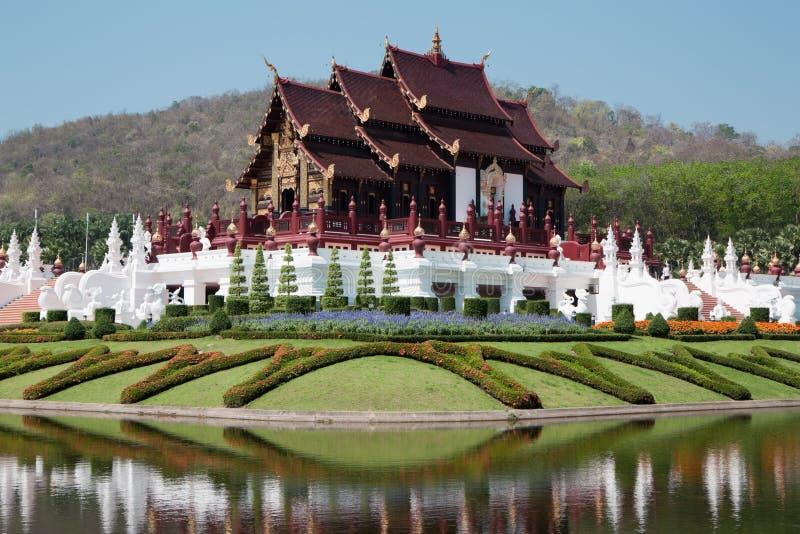 Thai style building in Royal flora Ratchaphruek, Chiang Mai, Thailand stock image