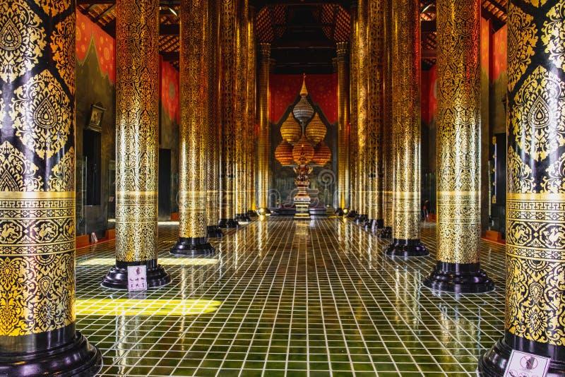 Ho Kham Luang Royal Pavilion, Chiang Mai, Thailand. Chiang Mai, Thailand - February 8, 2018: Ornate interior of Ho Kham Luang Royal Pavilion at Royal flora park stock photography