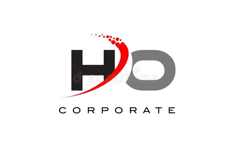 HO Modern Letter Logo Design with Swoosh royalty free illustration