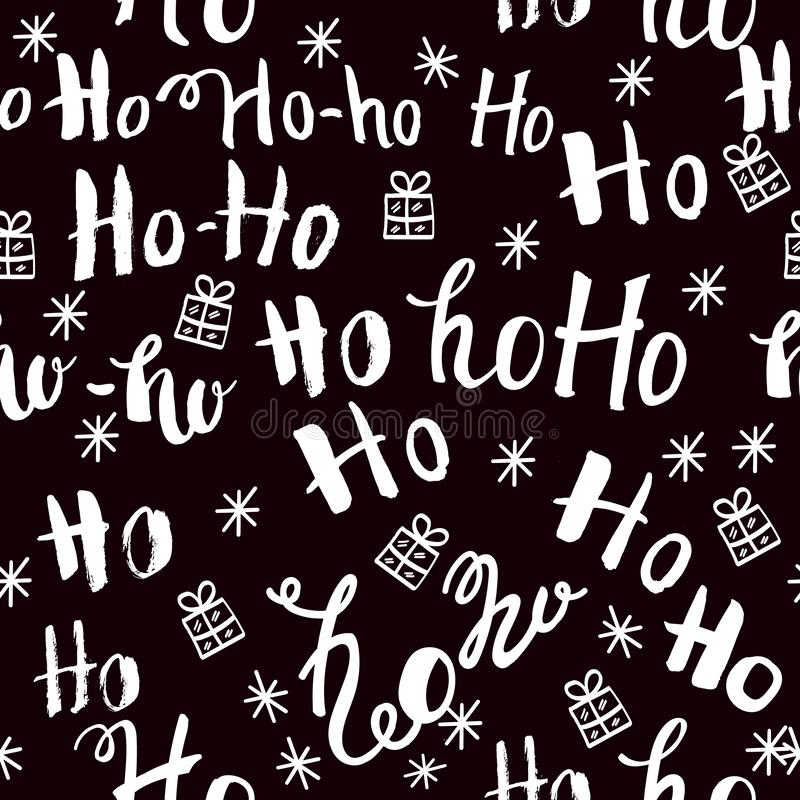 Ho pattern with snowflakes. Seamless christmas pattern. Hand drawn lettering on black background royalty free illustration