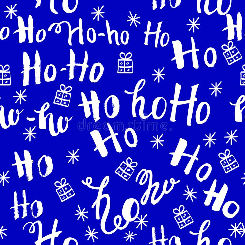 Ho pattern with snowflakes. Seamless christmas pattern. Hand drawn lettering on blue background vector illustration