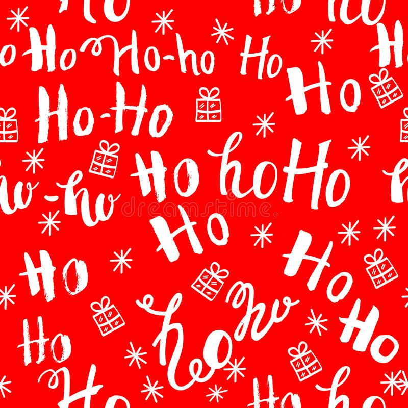 Ho pattern with snowflakes. Seamless christmas pattern. Hand drawn lettering on red background vector illustration