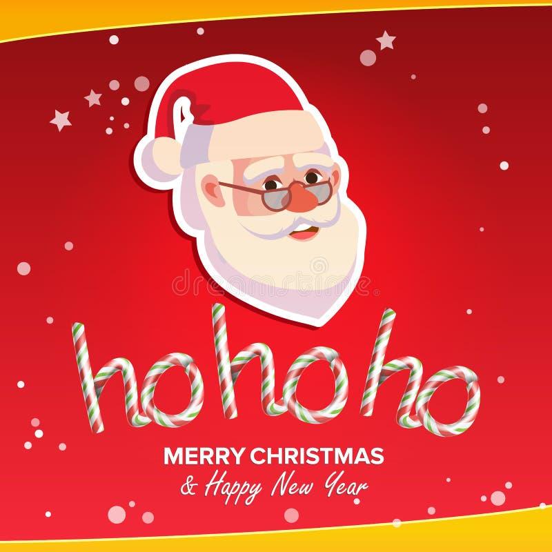 Ho-Ho-Ho Phrase Sign Vetora Feliz Natal que cumprimenta o cartão vermelho do fundo Papai Noel _2 Lugar para o texto Ilustração ilustração stock
