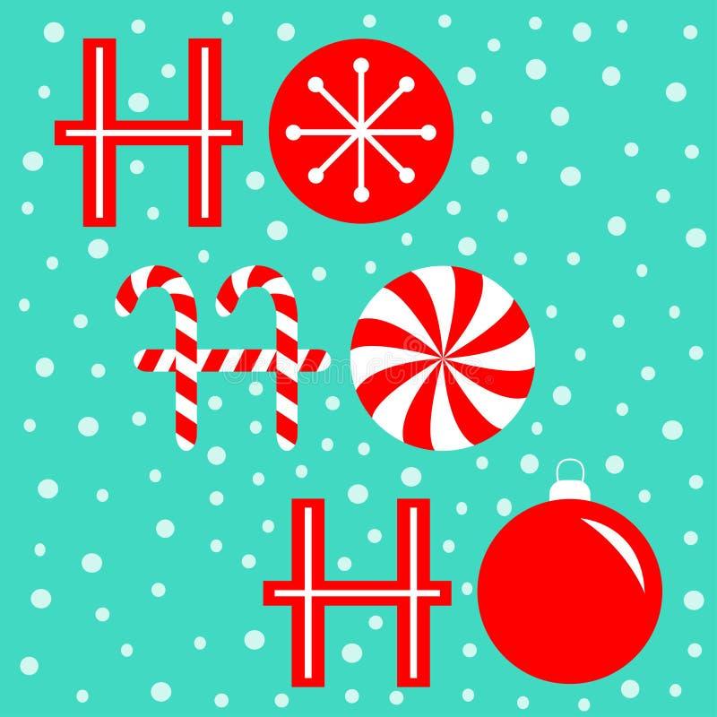 Ho ho ho ho ho trovato l'intestazione dell'incisione Candy Cane Merry Bauble Bauble Bauble decorazione natalizia Fiocco di neve b illustrazione vettoriale