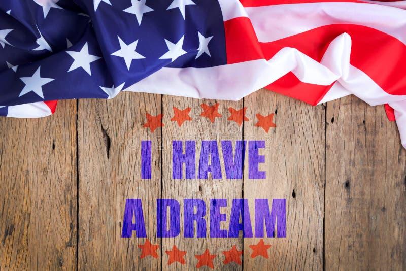 Ho un testo di sogno su vecchio fondo di legno, Martin Luther King immagini stock libere da diritti