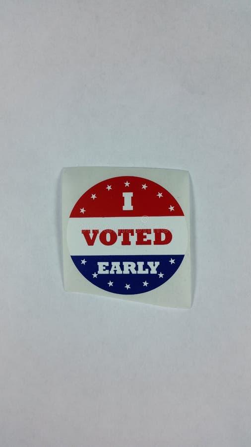 Ho votato l'autoadesivo in anticipo fotografie stock libere da diritti