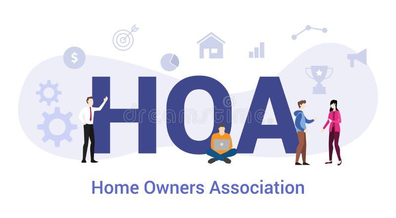 Hoa κάτοχοι οικιών συσχετίζουν την ιδέα με μεγάλη λέξη ή κείμενο και ομαδικά άτομα με μοντέρνο επίπεδο στυλ - διανυσματικό ελεύθερη απεικόνιση δικαιώματος
