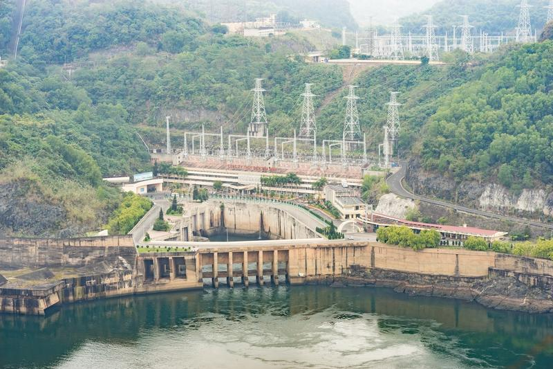 Hoa Binh, Vietnam - Jan 14, 2016: View of Hoa Binh Hydroelectricity Plant on misty day. The plant was built from 1979 to 1994 with. 8 machines provides 1920 MW royalty free stock image
