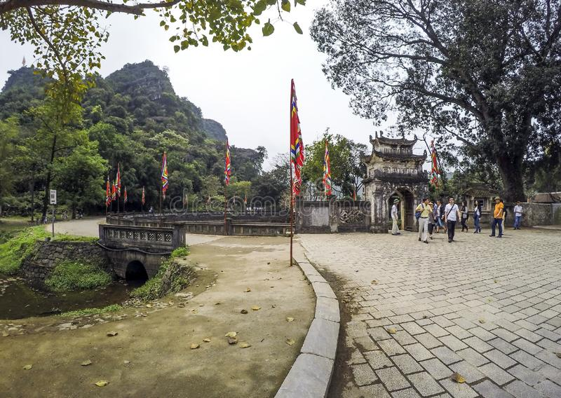 Hoa Lu Temple, entrance surrounded by limestones and lakes - April 4th, 2016 - Ninh Binh Province, Vietnam stock photography