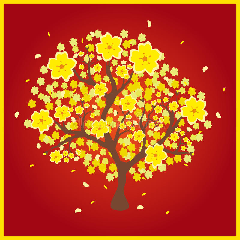 Hoa mai yellow peach tree stock vector. Illustration of ...