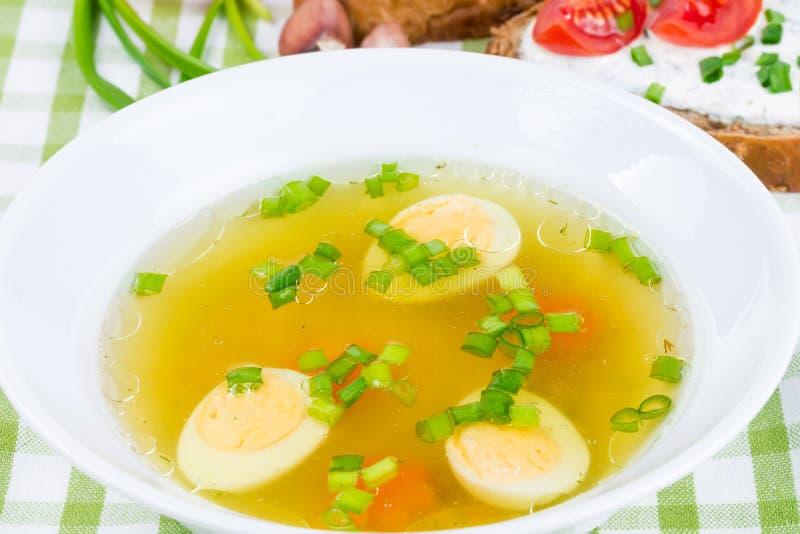 Hoad soup med det kokt ägget royaltyfri bild