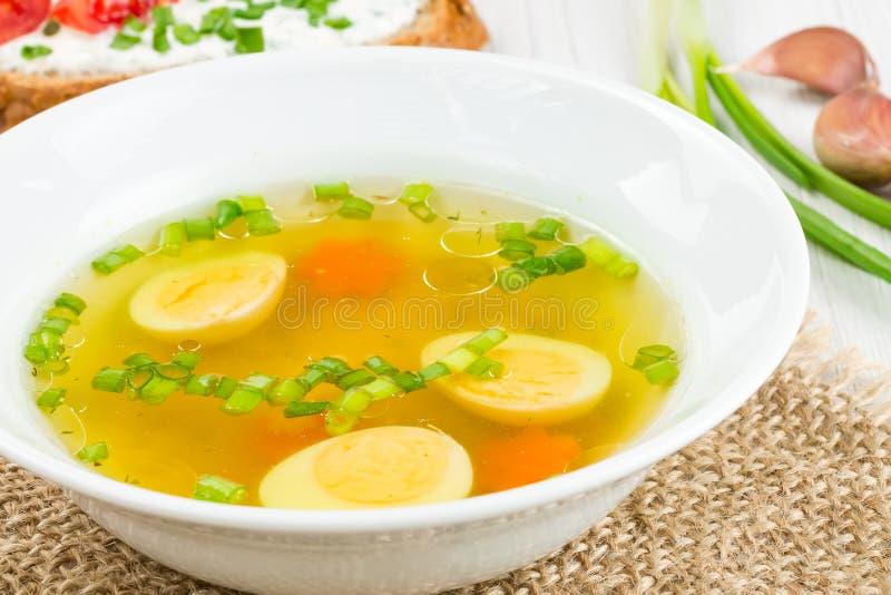 Hoad soup med det kokt ägget royaltyfri foto