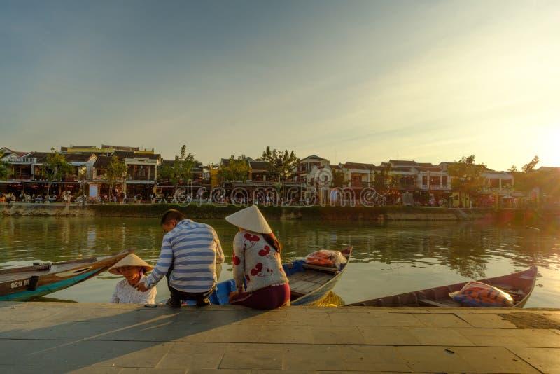 Hoai-Fluss in alter Hoian-Stadt, Vietnam Hoian wird erkannt stockfotos