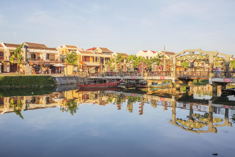 Hoai rzeka, Hoi, Wietnam fotografia stock
