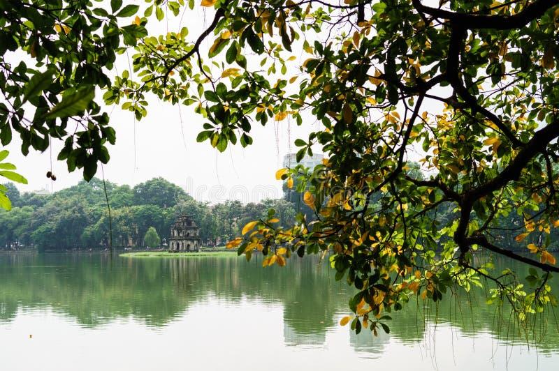 Hoan-Kiem lake in autumn-Ha Noi, Viet Nam stock photography