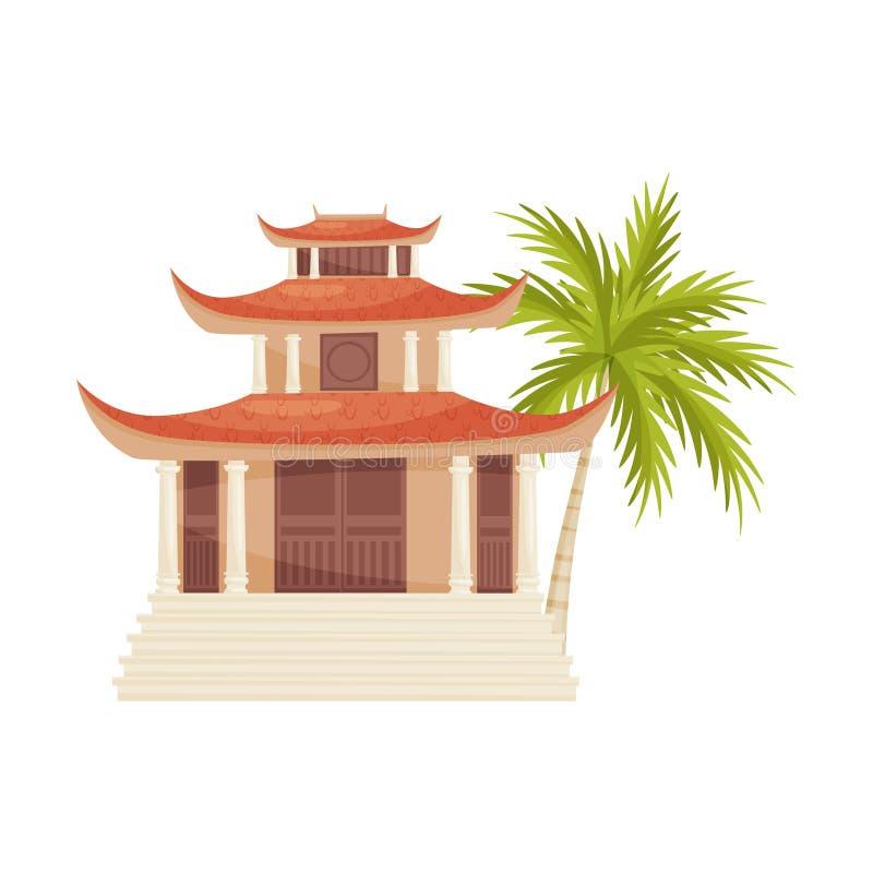 Hoang Phap pagoda i zieleni drzewko palmowe historyczne budowy stara architektury Podróż Wietnam, Azja Płaski wektorowy projekt royalty ilustracja