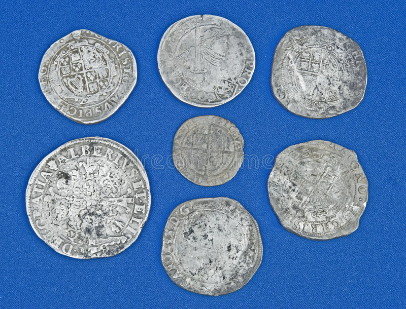 Hoard of historic coins. royalty free stock photography