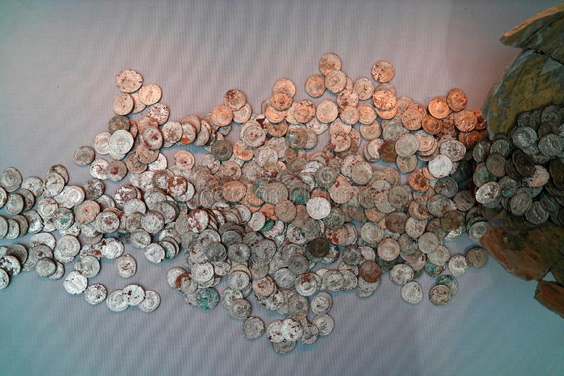 Hoard srebne Roma?skie monety obrazy royalty free
