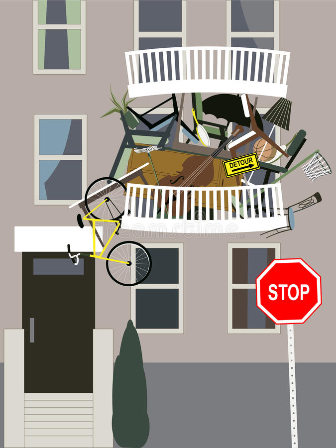 Hoarder. A balcony in an apartment building overflown with clutter, vector illustration royalty free illustration