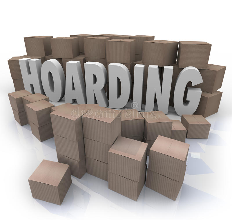 Hoarding Boxes Piled Up Word Collection Mess Trash. The word Hoarding surrounded by cardboard boxes piled up in an out of control messy collection of items, junk royalty free illustration