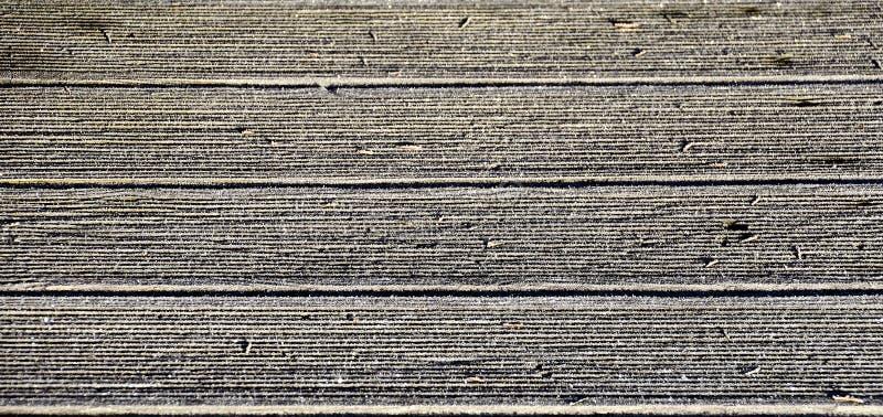 Hoarfrost ξύλινα floorboards στοκ εικόνα