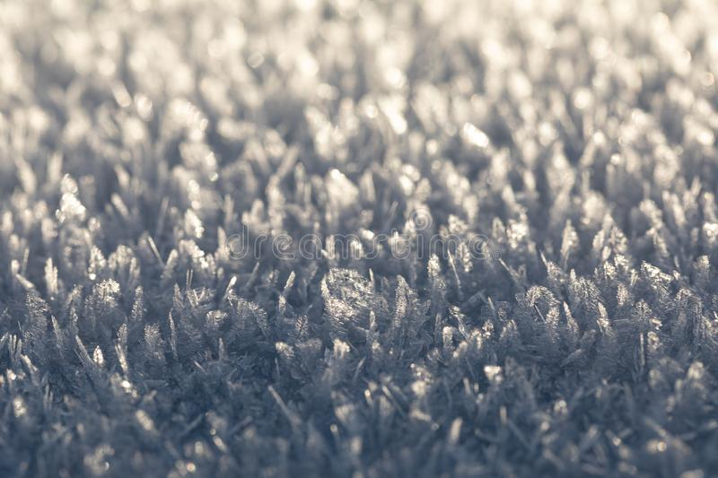 Hoarfrost. White frost. Frost. Small crystals of ice. Winter background. Christmas background. Closeup of hoarfrost. Frozen surfac. E. Severe frost stock photography