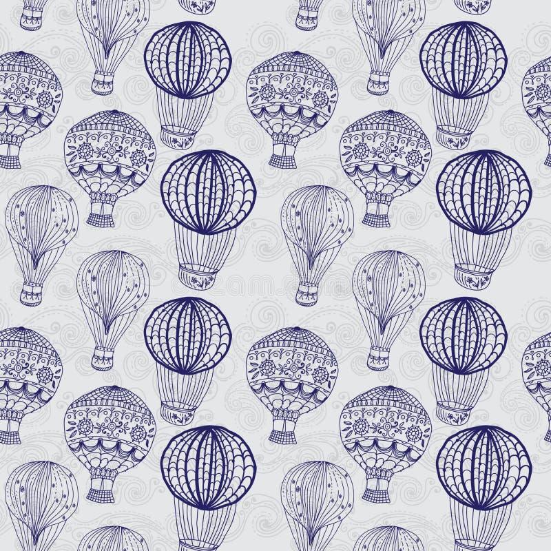 Hot luftar ballongen i skyen, seamless bakgrund stock illustrationer
