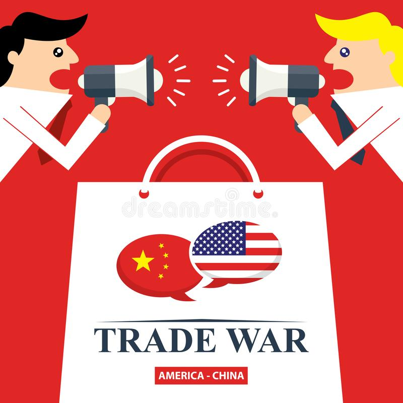 Trade war, USA versus China. America-China tariff business global exchange international. stock illustration