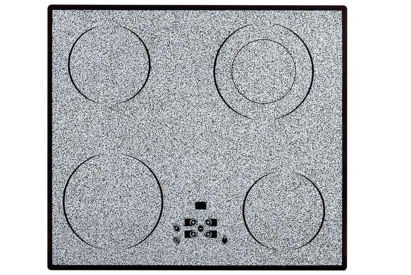 Hob elétrico com o painel de controle cerâmico da superfície e do toque isolado no branco fotografia de stock royalty free