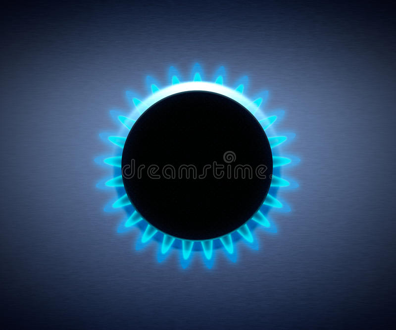 Hob with a gas stove. Blue Flame royalty free stock image