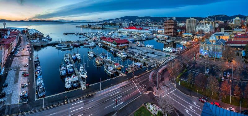 Hobart all'alba, Tasmania, Australia fotografia stock libera da diritti